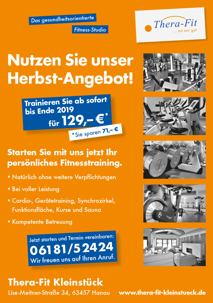 Herbstangebot von Thera-Fit, Fitnessstudio in Hanau